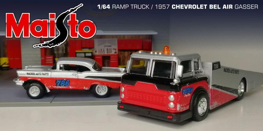 RAMP TRUCK w/ 1957 CHEVROLET BEL AIR GASSER (1/64,MAISTO)